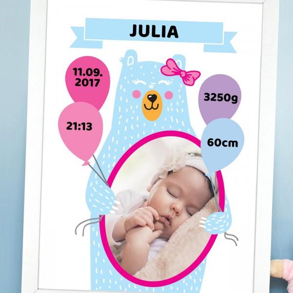 spersonalizowany plakat w ramie dla dziewczynki