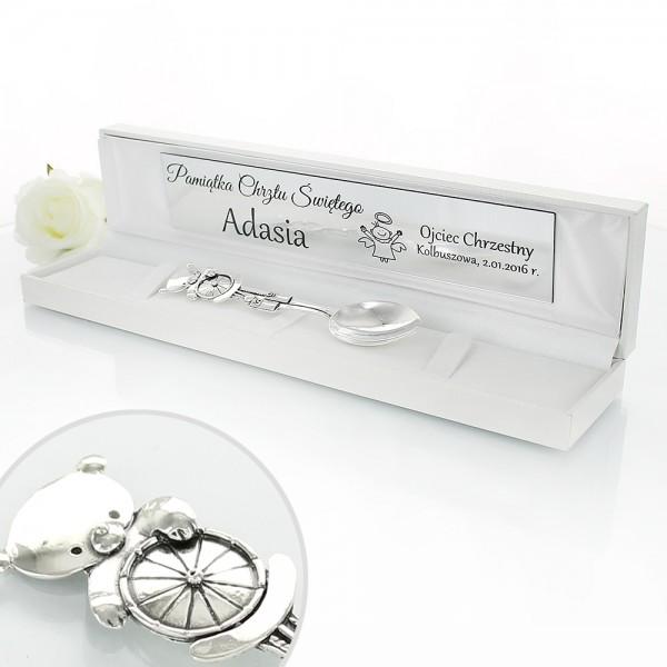 srebrne pamiątki chrztu świętego łyżeczka z grawerunkiem