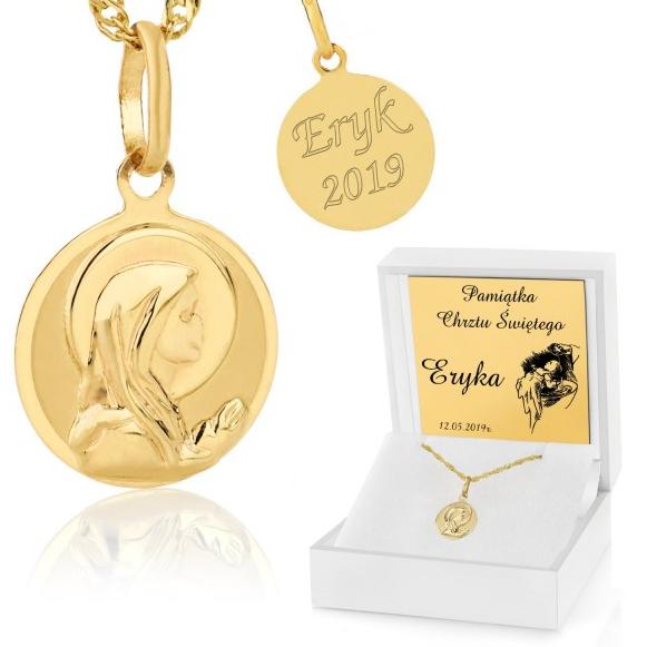 medalik złoty z grawerem na chrzest
